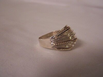 14k Ladies 925 Sterling Silver Ring Gold & Silver Color FREE SHIPPING