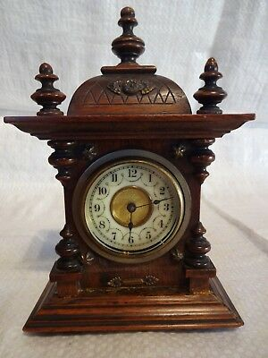 Miniature German Carved Wood Mantel Carriage Clock By Junghans.Spares Or Repair.