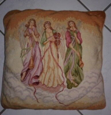 Handstitched Wool Needlepoint Pillow Christmas Angels 14x14 inches w/zipper