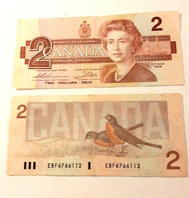 Canadian 1986 series two dollar bills, decent shape, lot of 2 clean crisp