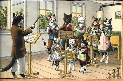 Alfred Mainzer No 4757 Dressed Cats Postcard-Director and Music Students-3 Mice