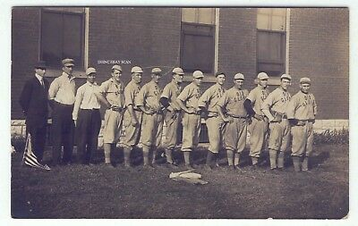 1910-18 Real Photo Postcard Old Glory Men's Baseball Team in Uniform
