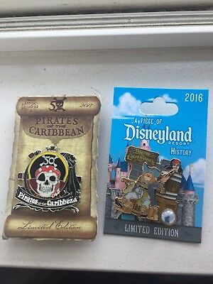 Disneyland Pirates of the Caribbean pin set / 50th passholder & Piece of History