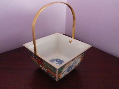 Fab Vintage Japanese Imari  Dragon Design Square Bowl With Handle 10 By 10 Cms