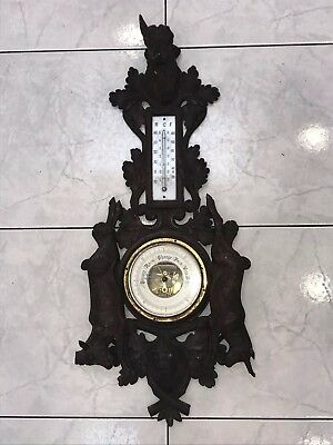 ANTIQUE 1800's BLACK FOREST HUNTING WALL BAROMETER