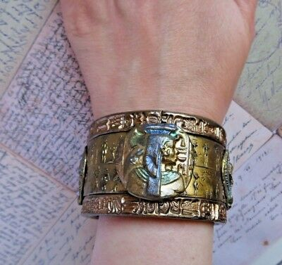 Handmade Ancient Egyptian Pharaoh Cuff Bracelet  Antique Gold Cuff Bracelet