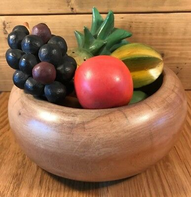 Vintage Wooden Fruit Bowl With 7 Pieces of Wooden Colourful Fruit