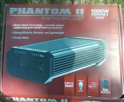 Phantom II 2 Digital Ballast 1000 Watts Watt Dimmable 120v 240v HPS MH Hydrofarm