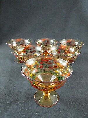 Set of six 1920s Stuart Sundae Sweet Glasses
