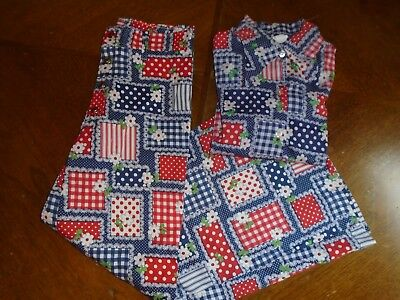 2 piece Vintage 70's Hippie Bell Bottoms Sears Growing Girl 12/14 red/blue shirt