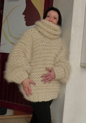 43f108dafc IVORY LONGHAIR mohair Sweater Extra Chunky T-neck by LanaKnittings ...
