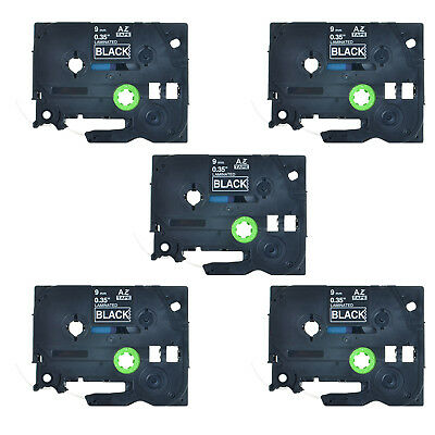 5PK TZ325 TZe325 White on Black Label Tape 3/8'' For Brother P-Touch PT-H100 9mm