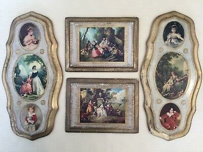 4 Shabby Wood Gilt Italian Florentine Hollywood Regency Toleware Wall Plaques
