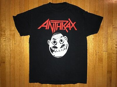 VINTAGE ANTHRAX T-SHIRT S BLACK 100% COTTON IRON MAIDEN METALLICA NOT FROM 1980s