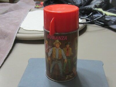 1965 Bonanza Metal Thermos, Aladdin Industries, w/Red Plastic Cup and Stopper