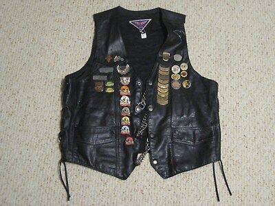 Leather MOB Motorcycle Biker Vest With HOG Patches & Pins Men's Large