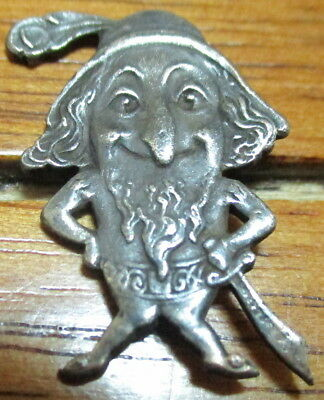 "1940s French Vintage White Metal Button ""REALISTIC GNOME-DWARF"" Silver/P Copper"