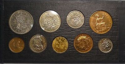 Proof British Coin Set - 9 Coins In Case - Half Crown To Six Pence All 1950