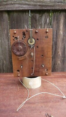 antique early american weight driven wooden works shelf clock movement parts rep