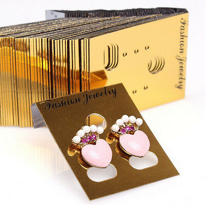 100X Gold Professional Type Plastic Earring Studs Holder.Display Hang Cards EZ