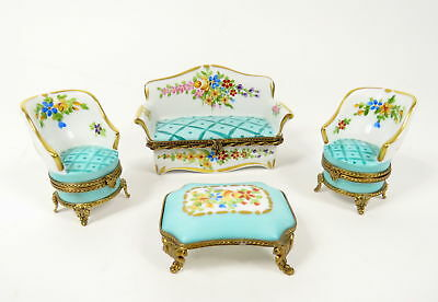 Set 4 Limoges R.r Trinket Boxes Sofa, Chairs, Table Furniture Peint Mein France