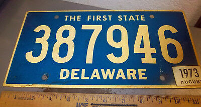 Delaware License Plate, 1973, the first state, 387946, heavy duty plate, nice