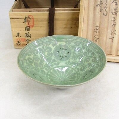 E984: Korean inlaid tea bowl of blue porcelain of Goryeo Dynasty style with box