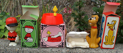 LOT 3 AVON PLUTO & CHARLIE BROWN SHAMPOO + SNOOPY PAL DISH & SOAP jb incl boxes