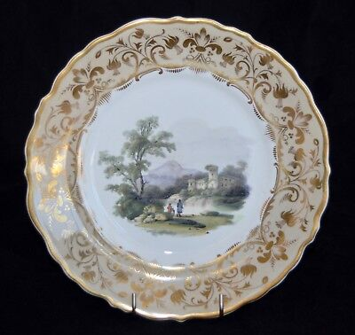 C19th Antique Hand Painted Display/Cabinet Plate - Castle -Decorative 22.8cm