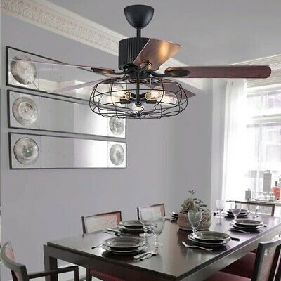 Industrial Ceiling Fan Light Lamp Chandelier Pendant Retro Fixture Decor