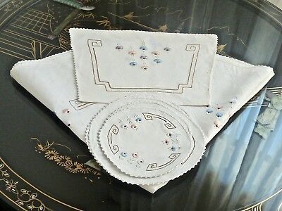 Fabulous Antique Irish Linen Hand Crafted Tea Cosy Tablecloth 4 Doilies C 1920's