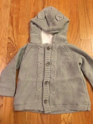 Crazy 8 Gymboree Sweater Hoodie Ears Gray Toddler Kids 2T Unisex NEW WITH TAGS