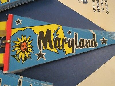 """CRISP VINTAGE 1970's ORIGINAL """"MARYLAND"""" CLOTH PENNANT- 7 INCHES LONG NEW"""