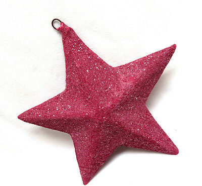 Vintage Raspberry Pink GLITTER STAR ORNAMENT