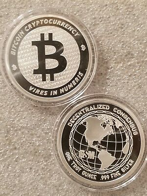 Bitcoin 1 oz .999 silver commemorative coin BTC decentralized consensus crypto