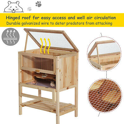 Hamster Cage Pet Play Exercise House 3 Tiers Mouse Wooden Fir Small Animals