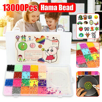 13000Pcs 2.6mm Perler Hama Beads Refill Pack 3 Pegboards Stater Kit Kids Crafts