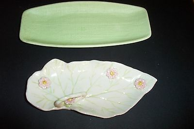 2 VTG HANDLED LEAF DISH TRINKET BONE & NAPCOWARE JAPAN C-5969 Burlap textured