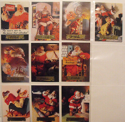 Coca Cola Coke - Trading Cards, Series 1, Santa, S1 - S10 Gold Foil - Set of 10