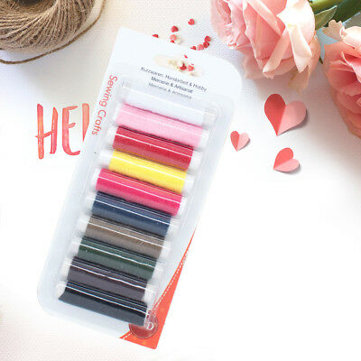 10pcs 50m mixed polyester sewing thread line cord for diy jeans denim craftHC