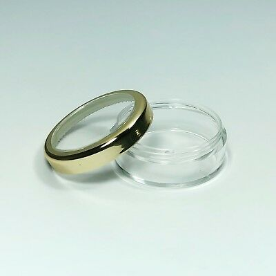 100 Cosmetic Jars Empty Makeup Containers Gold Trim Acrylic Lid 20 Gram #3022