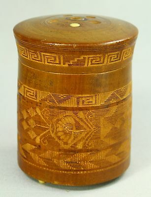 ! FINE Antique Carved Turned Wood & Deer Bone Inlay Tea Caddy Container