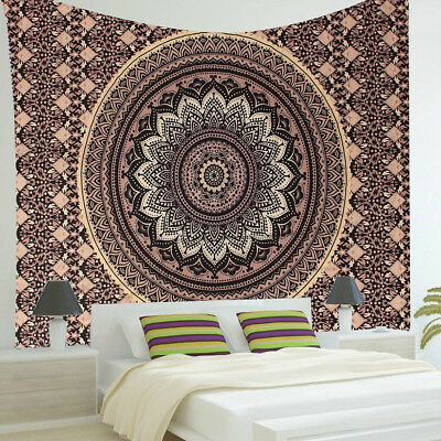 Vintage Indian Ombre Mandala Hippie Wall Hanging Tapestry Bedspread Home Decor