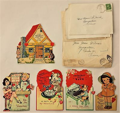 1938 antique LOT of 5pc VALENTINE CARDS motion 3D MARIE WHITMAN morgantown pa