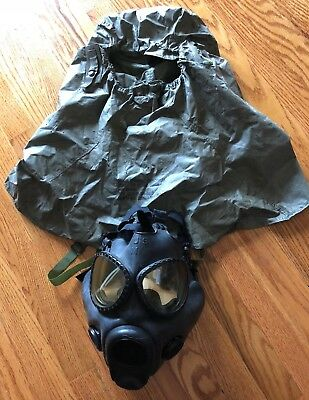 Vintage US Military M17 Series Gas Mask, Chemical, Biological w/Hood & Carrier