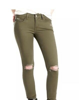 womens new colored 12 m levis olive green 535 super skinny jeans sz