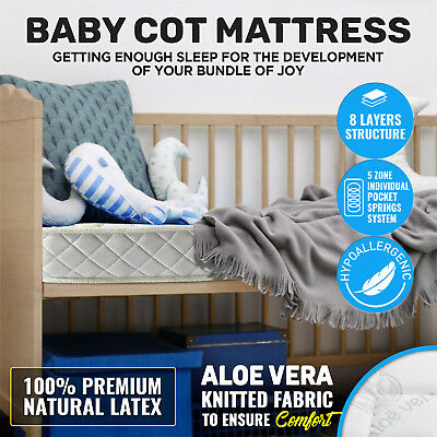 Luxury Baby Mattress Pocket Spring Cot High Density Foam for Bed Natural LATEX