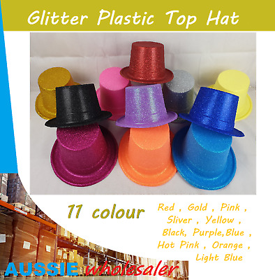 1x Glitter Top Hat Fancy Party Easter Halloween Wedding Plastic Costume hat