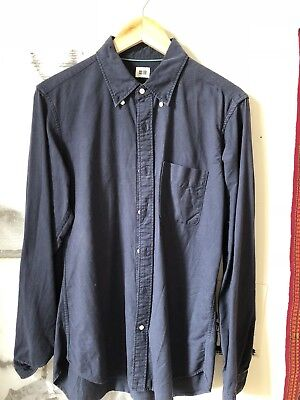 mens uniqlo m slim fit oxford cloth button down ocbd navy blue
