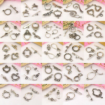 Tibatan Silver Toggle Clasps Connectors Necklace Jewelry Making DIY R2002